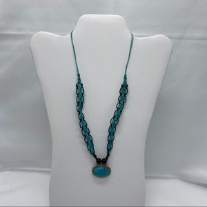 Fashion Jewelry, Turquoise and Black Rope Pendant